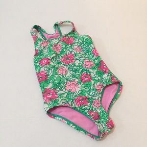 TYR Girls Swimsuit Size 6 6x Green Pink Flowers
